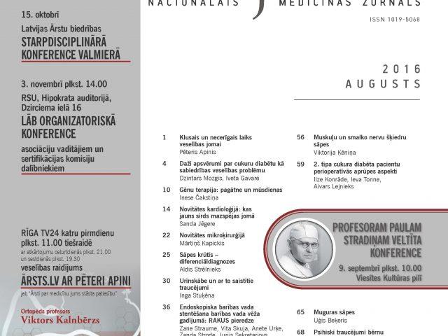 """Žurnāla """"Latvijas Ārsts"""" augusta numurs"""